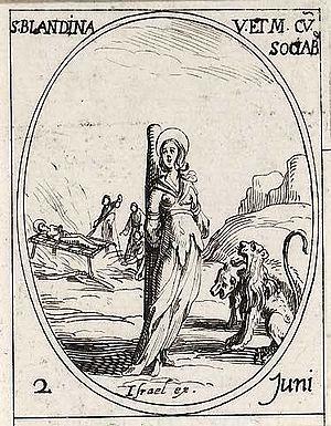Saint Blandine's martyrdom at Lyons, drawn by ...