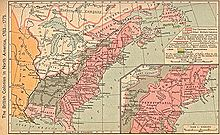 Before the revolution: the thirteen colonies are in pink