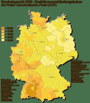 Deutsch: Zweitstimmenwahlkreisergebnisse FDP B...