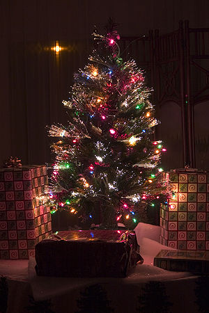 An artificial fiber optic Christmas tree