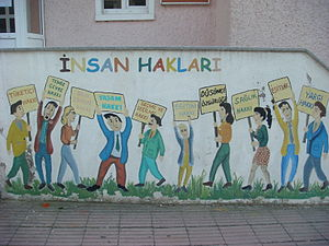 English: A mural describing human rights in Tu...