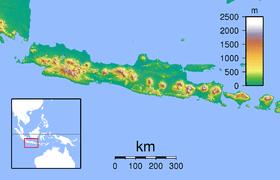 Peta memperlihatkan letak Taman Nasional Ujung Kulon