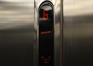 English: A KONE Ecodisc elevator in Glasgow af...