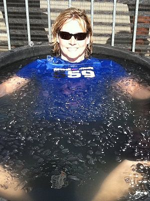 English: Weightlifter Karyn Marshall in an ice...