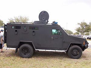 English: Leco Bearcat tactical vehicle used by...