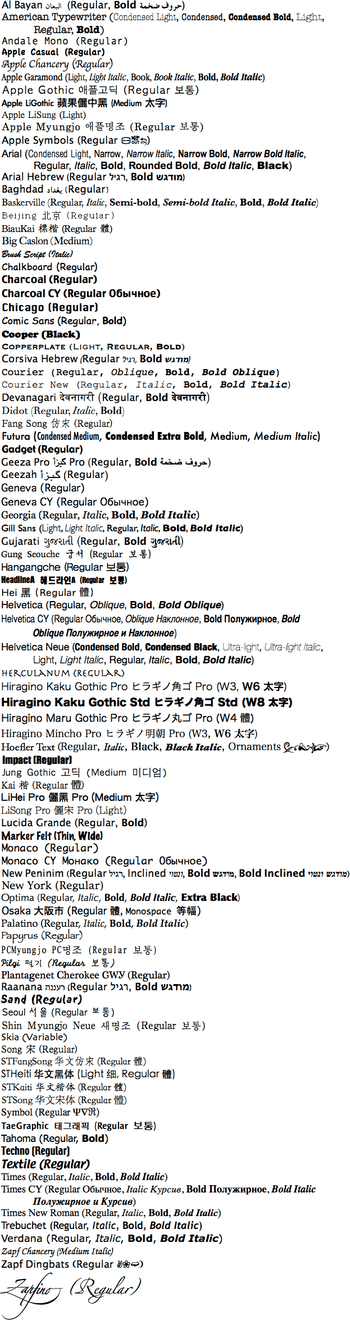 List of fonts in Mac OS X. The original RTF file is available if you want it, just email User:Nickshanks.