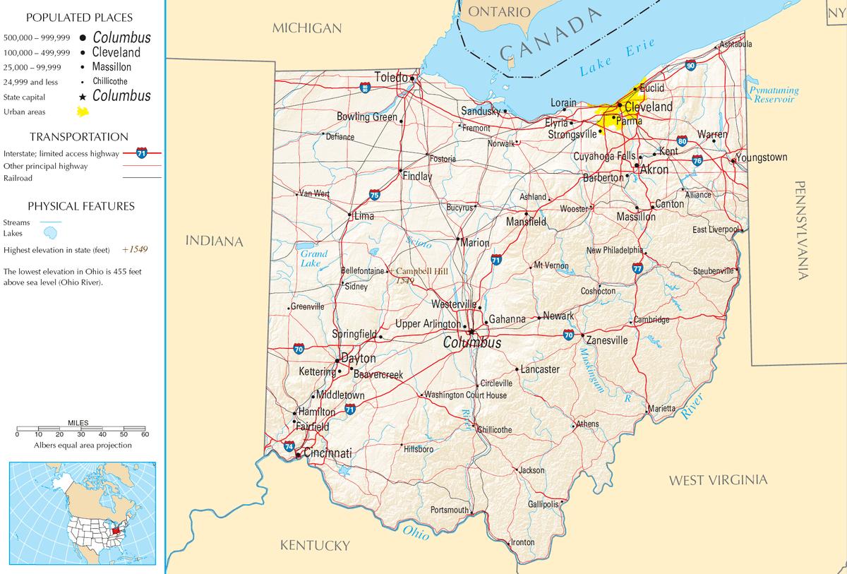 Karte von Ohio