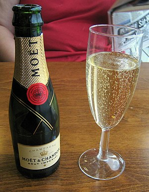 Moet champagne and glass.