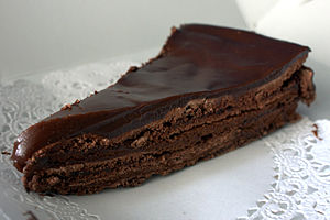 Slice of a chocolate cake.