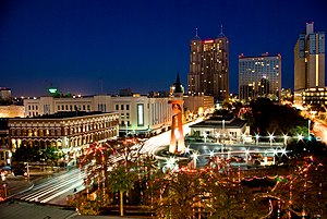 English: Christmas Lights in Downtown San Anto...