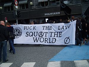 Squatters in Copenhagen demonstrating for more...