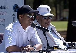 Tiger and Earl Woods Fort Bragg 2004.jpg