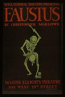 Poster for WPA performance of Marlowe's Faustus, New York, circa 1935