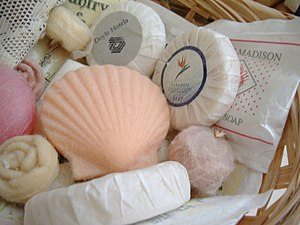 A collection of decorative soaps, commonly fou...