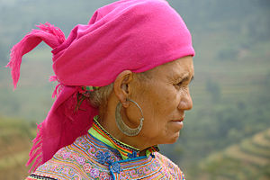 Close portrait of a Flower Hmong woman.
