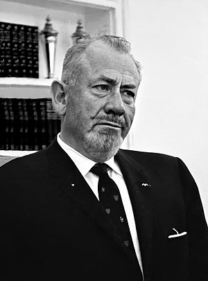 English: John Steinbeck visits LBJ at the oval...
