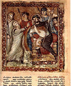Miniature ofrom Folio 8r of the Syriac Bible o...