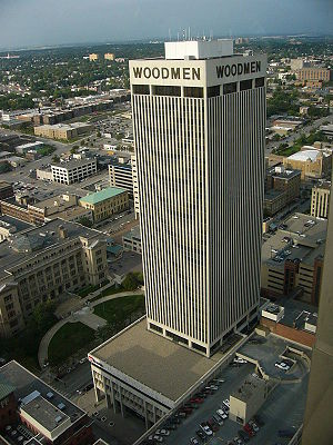 English: Woodmen Tower in Omaha, Nebraska, as ...