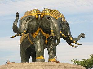 English: A statue of Airavata (a.k.a. Erawan),...