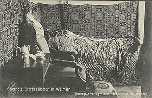 Deutsch: Goethes Sterbezimmer in Weimar Englis...
