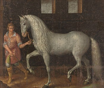 A 1603 painting of a Spanish war horse, an anc...