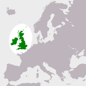 Location map of Great Britain and Ireland, wit...