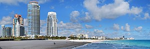 Panoramic image of South Beach, the southern e...