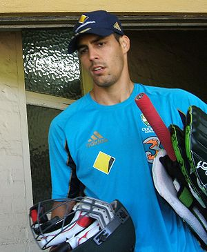 Mitchell Johnson at a training session at the ...