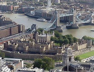 An aerial view of the Tower of London as seen ...