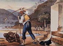 Escravo sendo castigado, em pintura de Jean Baptiste Debret