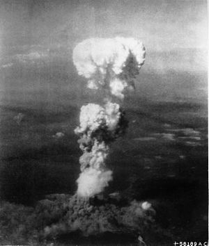 The mushroom cloud over Hiroshima after the dr...