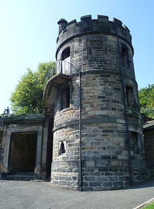 English: Graveyard watchtower, New Calton Bury...