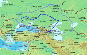 Map of the Khazar Khaganate and surrounding states, c. 820 CE. Area of direct Khazar control shown in dark blue, sphere of influence in purple. Other boundaries shown in dark red.