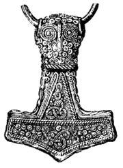 Drawing of a 4.6 cm gold-plated silver  Mjolnir  pendant found at Bredsätra on Öland, Sweden. The original is housed at the Swedish Museum of National Antiquities.