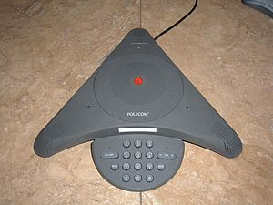 A Polycom Soundstation. Users can use it to bo...