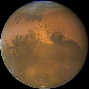Image of Mars showing northern Drylands (ochre...