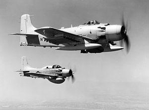 A U.S. Navy Douglas AD-6 Skyraider attack plan...