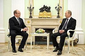 Prince Albert with Russian President Vladimir Putin on 4 October 2013.