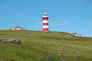 The lighthouse and outbuildings at Cape Pine, ...