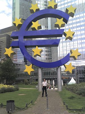 The symbol of the Euro in front of the Europea...