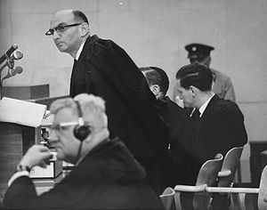 English: Defense counsel Robert Servatius (for...