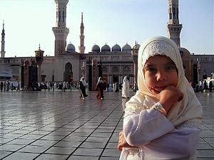 Little girl in white in Medina.