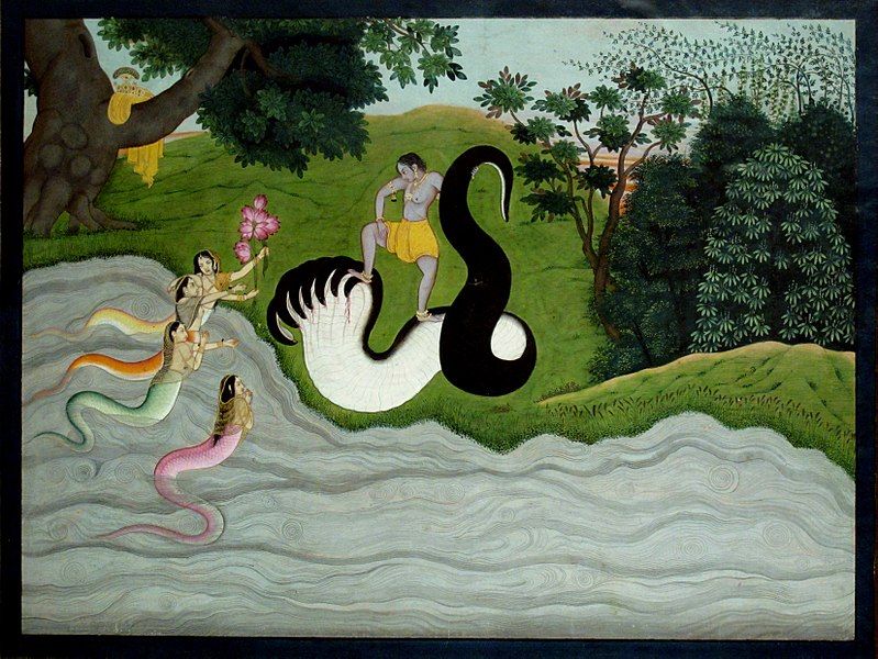 File:Kaliya's wifes and Krishna. Kangra c.1785-90. Painting of India.JPG