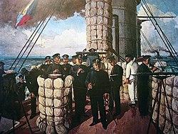 Admiral Tōgō on the bridge of Mikasa