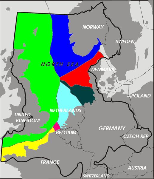 Ländernas ekonomiska zoner (EEZ) i Nordsjön.