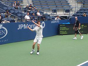 Andy Murray Practicing At The 2007 US Open Whi...