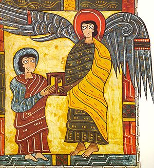 The Angel gives John the letter for the Church...
