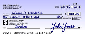Cheque sample for a fictional bank in Canada. ...