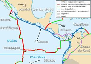 Français : Carte de la plaque des Cocos Englis...
