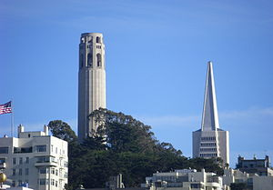 English: San Francisco: the Coit tower and the...
